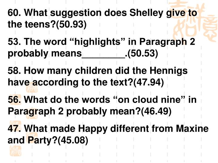 60. What suggestion does Shelley give to the teens?(50.93)