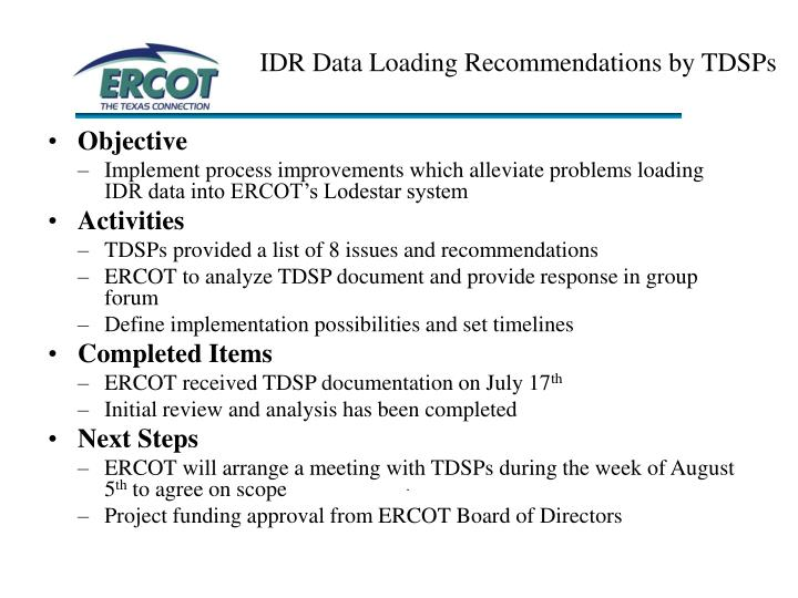 IDR Data Loading Recommendations by TDSPs