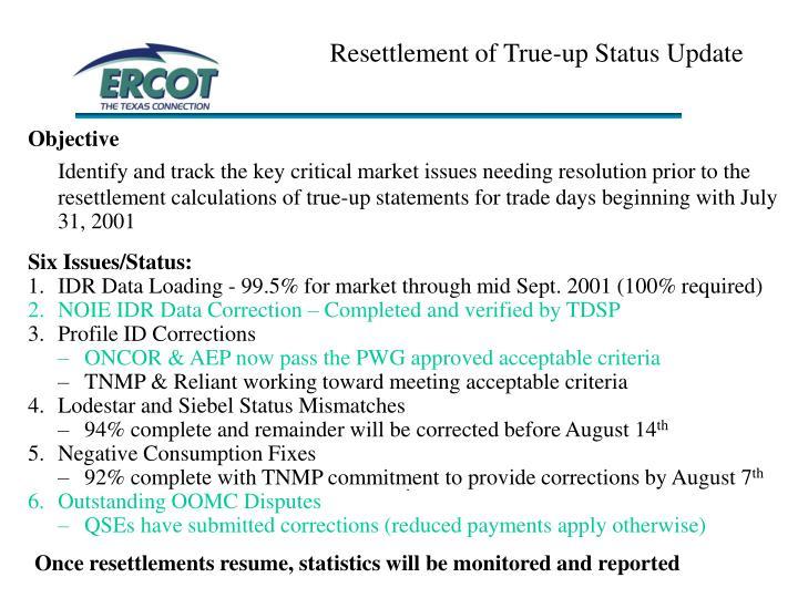Resettlement of True-up Status Update