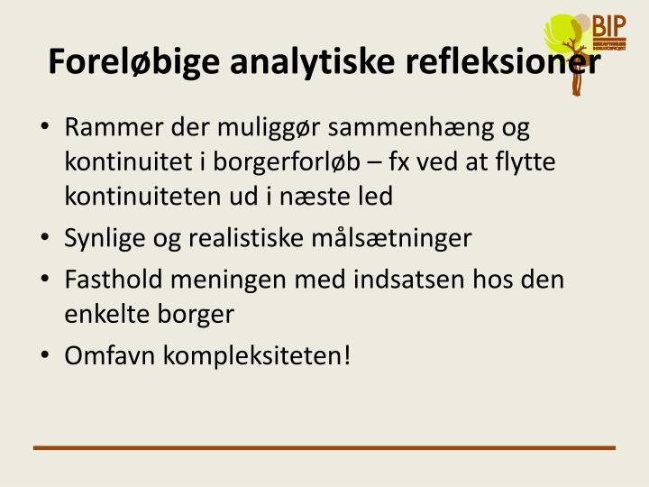 Foreløbige analytiske refleksioner