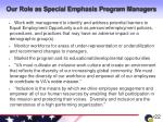 our role as special emphasis program managers