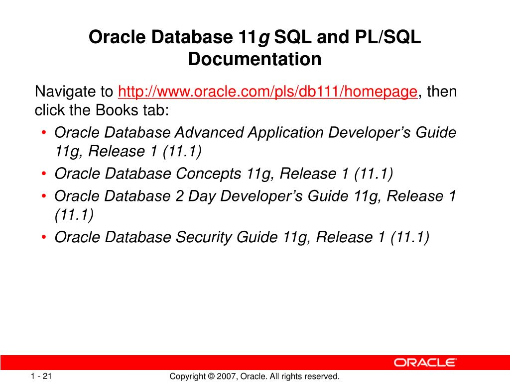 PPT - Introducing the Oracle Database 11 g SQL and PL/SQL