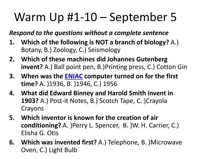 Warm Up #1-10 – September 5