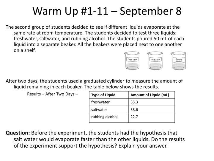 Warm Up #1-11 – September 8