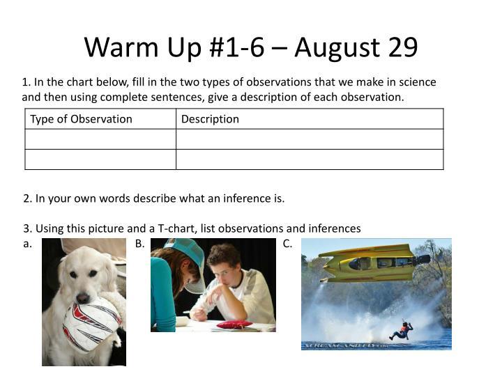 Warm Up #1-6 – August 29