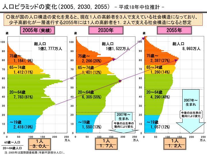 人口ピラミッドの変化(