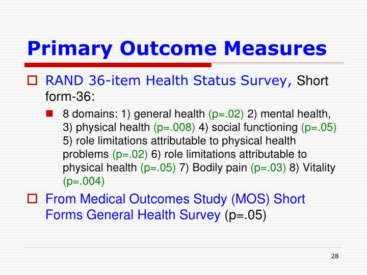 Primary Outcome Measures