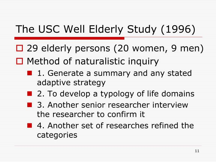 The USC Well Elderly Study (1996)