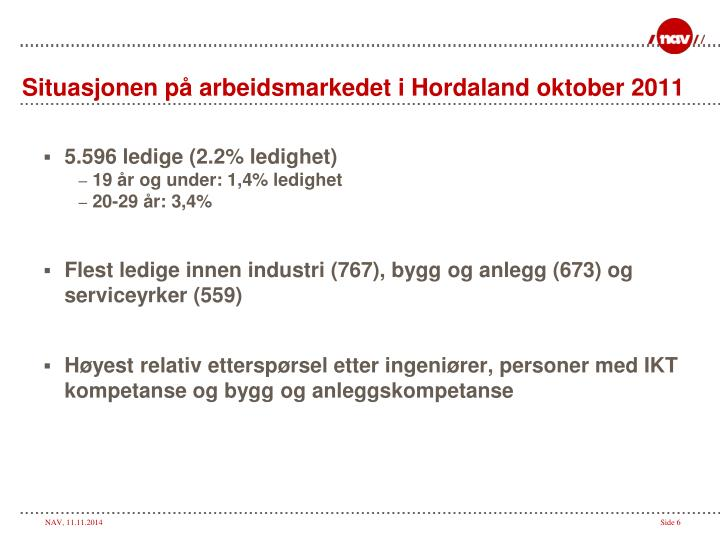 Situasjonen på arbeidsmarkedet i Hordaland oktober 2011