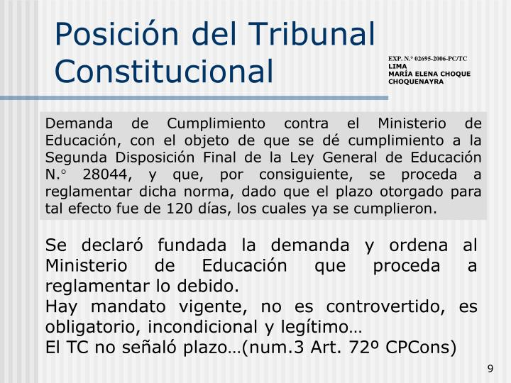 Posición del Tribunal Constitucional