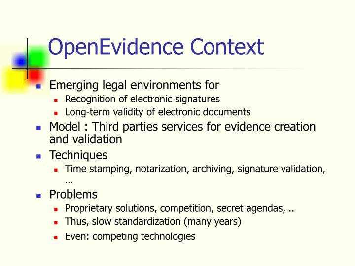 open evidence project I got a codeplex project approved, whee i'm pretty sure i must have grandfathered in since i submitted my request a couple of weeks ago - it's just an idea in my mind, not an actual project.