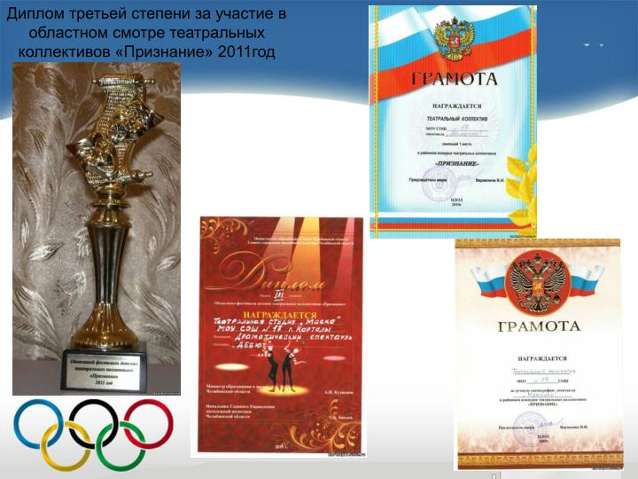 Диплом третьей степени за участие в областном смотре театральных коллективов «Признание» 2011год