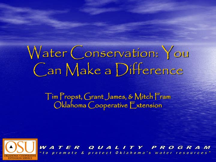 water conservation you can make a difference