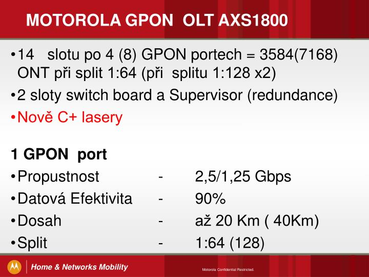 MOTOROLA GPON  OLT AXS1800