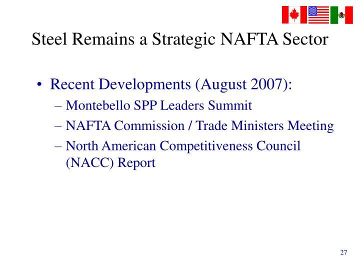 Steel Remains a Strategic NAFTA Sector