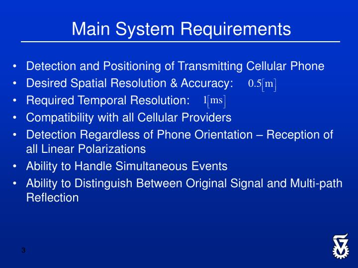 Main system requirements