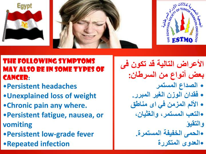 The following symptoms may also be in some types of cancer