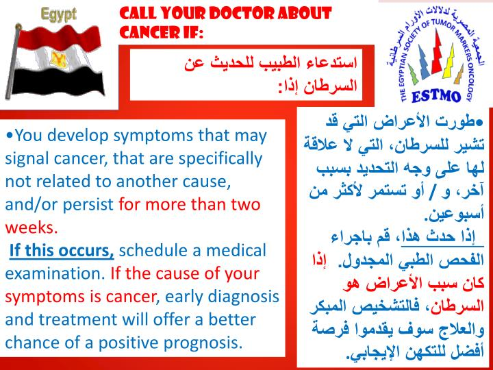 Call Your Doctor about Cancer if: