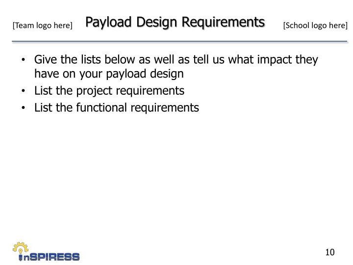 Payload Design Requirements