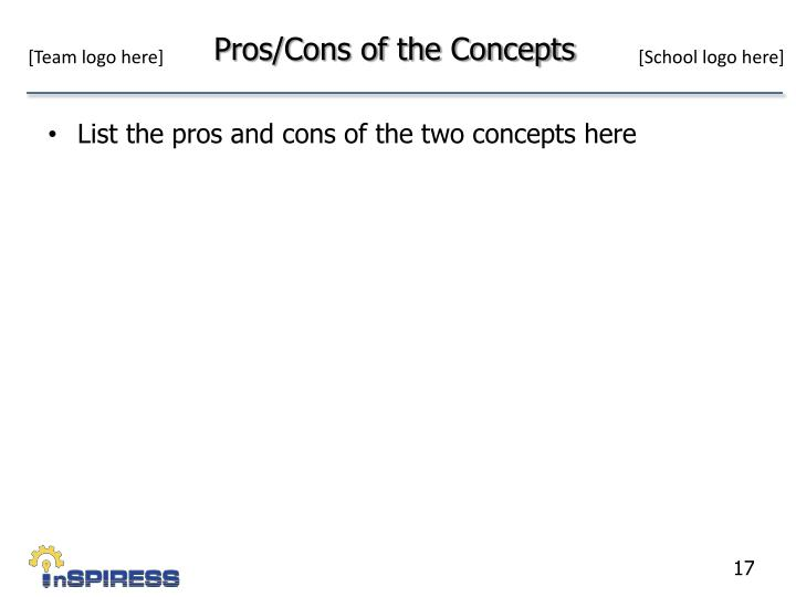 Pros/Cons of the Concepts