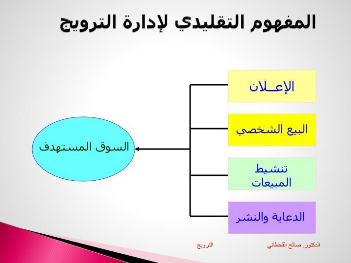 المفهوم التقليدي لإدارة الترويج