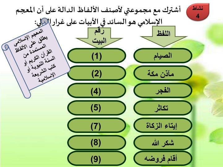 أشترك مع مجموعتي لأصنف الألفاظ الدالة على أن المعجم الإسلامي هو السائد في الأبيات على غرار التالي: