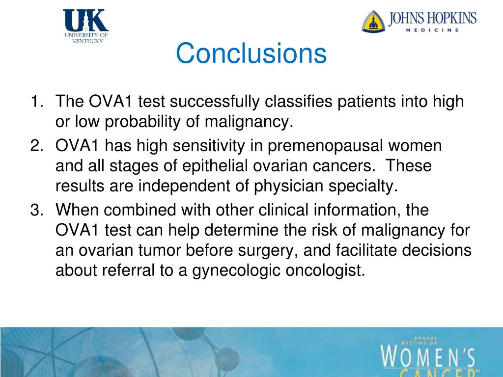 Ppt The Ova1 Test Improves The Preoperative Assessment Of Ovarian Tumors Powerpoint Presentation Id 6479847