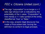 fec v citizens united cont