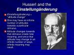 husserl and the einstellung nderung