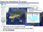 status for hiroshima t2 center