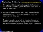 the logical architecture the object oriented decomposition