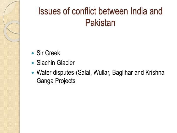 issues of conflict between india and pakistan n.