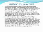 martabat ilmu dalam islam