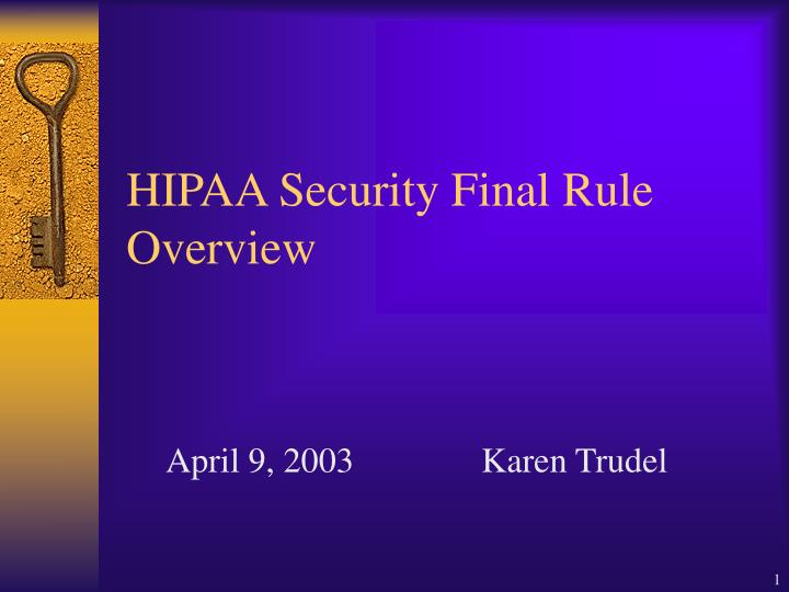 hipaa security final rule overview n.