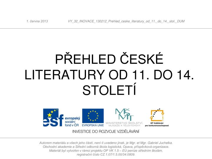 p ehled esk literatury od 11 do 14 stolet n.