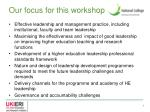 our focus for this workshop