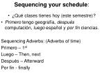 sequencing your schedule