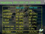 vegelijking 2001 2007 en 1990 2000