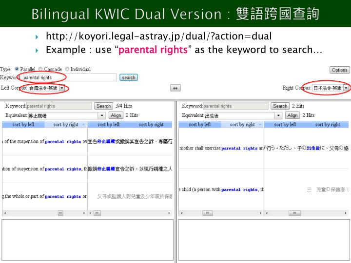 Bilingual KWIC Dual Version :