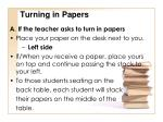 turning in papers