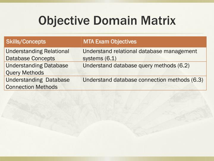 Objective domain matrix