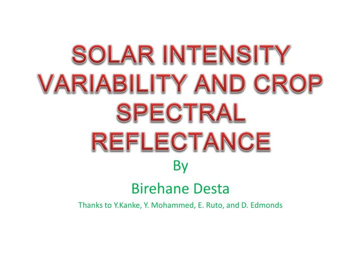 solar intensity variability and crop spectral reflectance n.