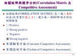 correlation matrix competitive assessment