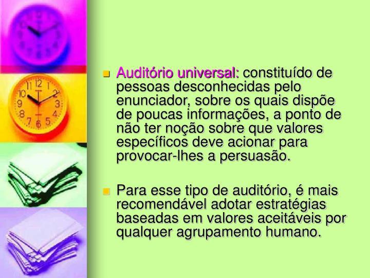 Auditório universal: