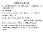 rule of a man