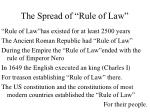 the spread of rule of law