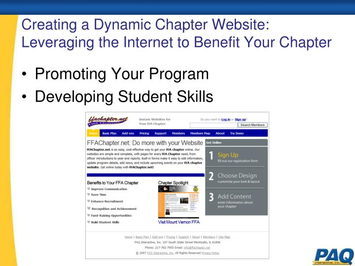 creating a dynamic chapter website leveraging the internet to benefit your chapter n.