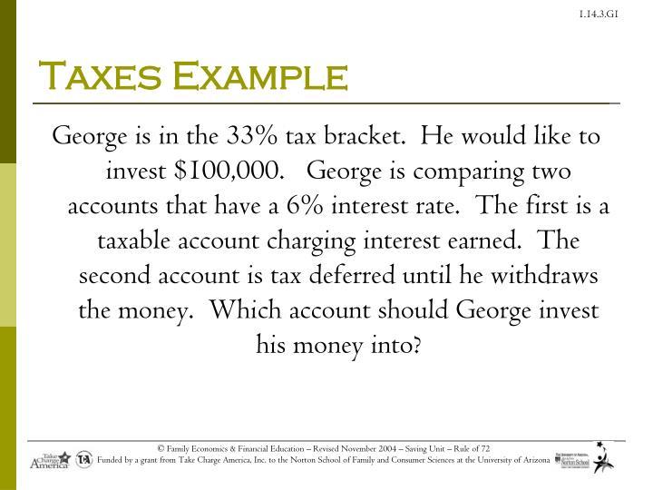 Taxes Example
