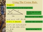 using the cosine rule