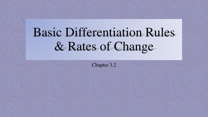 basic differentiation rules rates of change n.